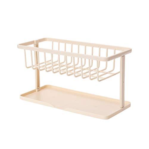BESTONZON Sink Double-layer Drain Rack Countertop Storage Shelf Holder Kitchen Organizer for Sponge Hand Sanitizer Bath Ball (Beige) ()