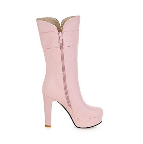 Women's Boots Heels Solid High PU Zipper Round Toe AgooLar Pink 8nTqfd8