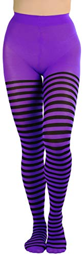 ToBeInStyle Women's Nylon Horizontal Striped Tights - Black/Purple - One Size