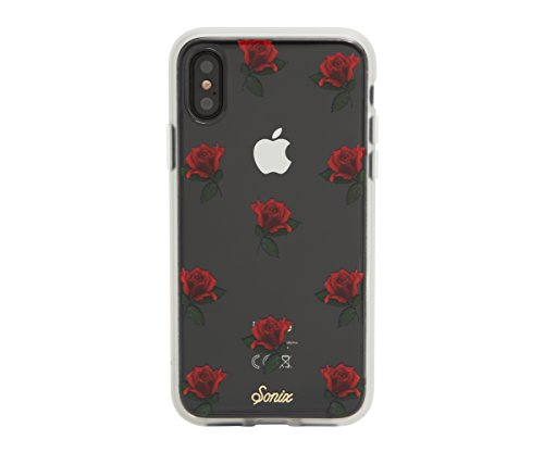iPhone XS, iPhone X, ROSA (red roses) Cell Phone Case [Military Drop Test Certified] Protective Clear Case for Apple iPhone X, iPhone XS