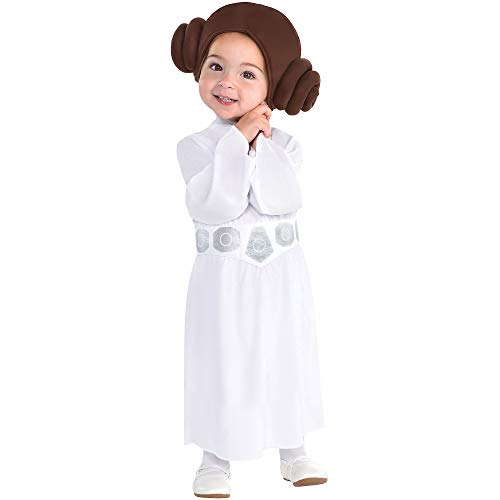 Party City Princess Leia Halloween Costume for Babies, Star Wars, 0-6 Months, Includes Accessories -