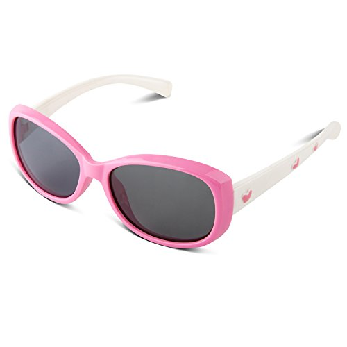RIVBOS RBK006 Rubber Flexible Kids Polarized Sunglasses Age 3-10 (Pink - Cool Croakies