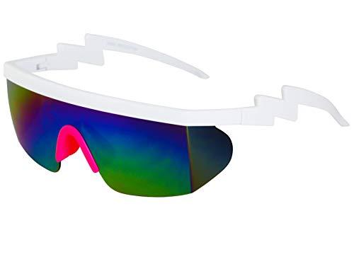 Semi Rimless Goggle Style Retro Rainbow Mirrored Lens ZigZag Sunglasses (Rainbow ()