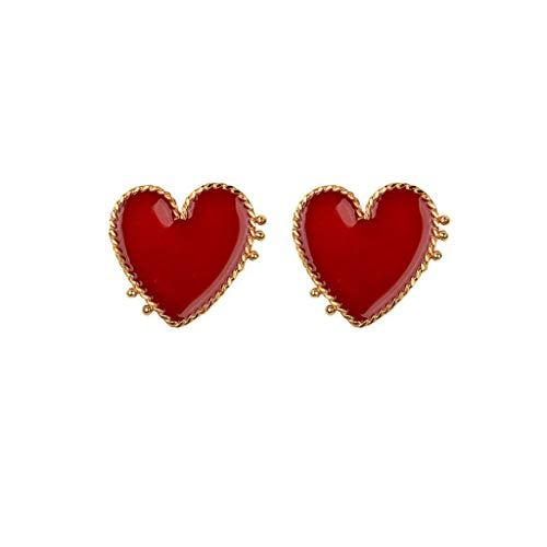 Qhufnng Sweet Valentines Love Enamel Red Heart Stud Earrings For Women Fashion Jewelry