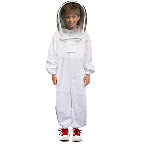 Luwint Kids Full Body Ventilated Beekeeping Suits - Cotton Bee Beekeeper Suit with Self Supporting Fencing Veil Hood for Children (White/ 3.9ft Height) ()