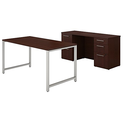 Bush Business Furniture 400 Series 60W x 30D Table Desk and Credenza with File Drawers in Harvest Cherry by Bush Business Furniture