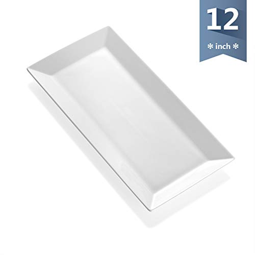 - Sweese 3312 12-inch Porcelain Serving Tray/Rectangular Platter - White, Stackable