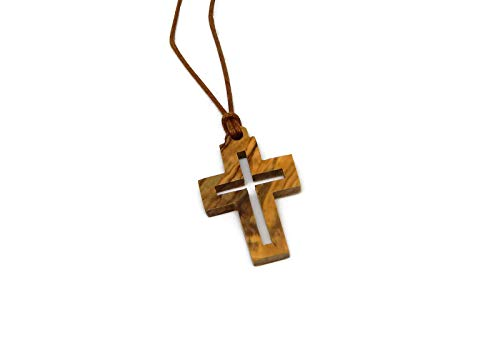 (Olive Wood Square Cut Out Christian Cross Pendant - Made by)