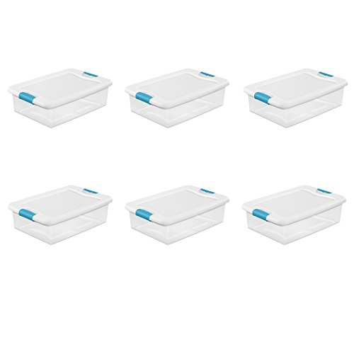 Sterilite 14968006  32 quart/30 L Latching Box with Clear Base, White Lid and Colored Latches, 6-Pack ()