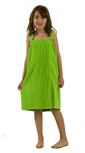byLora Terry Cotton Girls wrap Towels, Apple Green, Medium