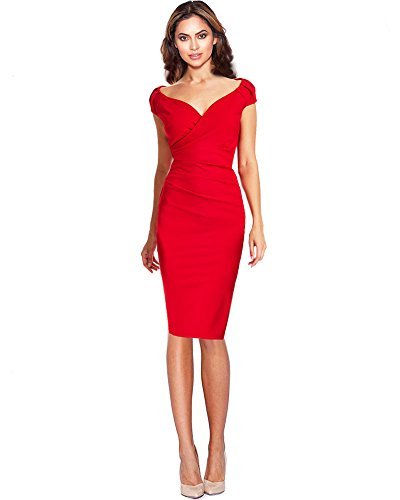 40 DREZZ2IMPREZZ GERMANY KLEID Gr ROT BUSINESS ETUIKLEID 36 MADE KNIELANG in ELDINA 38 6zR6Hqx
