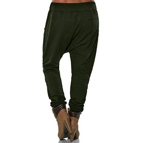 Dragon868 Donna Army Green Elastica Vita Casual Forti Taglie Down Pantaloni Palestra Button 5XL Donna Basso Pantalone Cavallo XZqxrnfZa