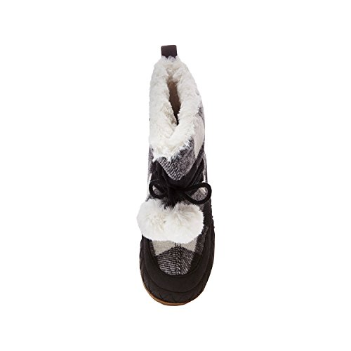 Women's Mad Love Carly Black and White Plaid Bootie Slippers Small (5-6) by Mad Love (Image #2)