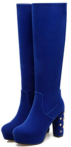 Mid Calf Boots Mujer Suede High Heeled Chunky Round Faux Zip Moda Toe Blue Easemax Up f7PRq