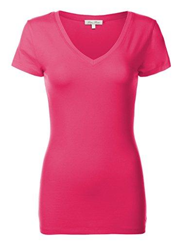 Luna Flower Basic Cotton Slim Short Sleeve Deep V-neck T-Shirt Tops 092-Fuchsia US M