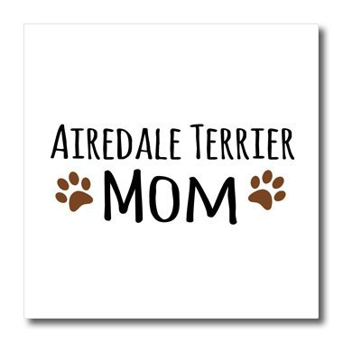 "3dRose ht_154055_2 Airedale Terrier Dog Mom-Breed-Specific Design with Brown Paw Prints-Doggie Lovers-Doggy Love-Iron On Heat Transfer, 6 by 6"", For White Material"