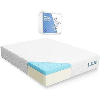 LUCID 10 Inch Gel Memory Foam Mattress with LUCID Encasement Mattress Protector - Twin