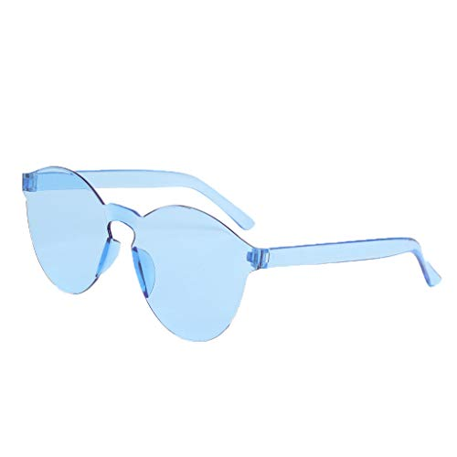 Suma-ma Womens Frameless Transparent Glasses, 2019 Unisex Fashion Candy Color Outdoor Driving Glasses Beach Eyeglasses(Blue,1Pcs)