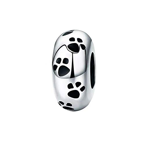 ABAOLALA Spacer Charm 925 Sterling Silver Clip Charm Stopper Beads Silicone Positioning Charm fit Fashion 3mm Pandora Charms Bracelet & Necklace (Paw Spacer Charm) ()