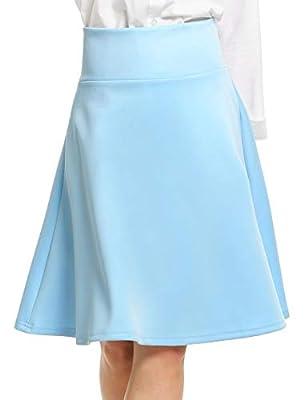 ANGVNS Women Casual High Waist Knee Length Big Hem Pleated Solid Zipper Skirt for Office