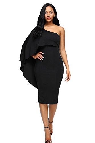 Ruffle Cocktail Party Midi Shoulder One Bdcoco Bodycon Dress Black Cape Women's P5yYqySXW