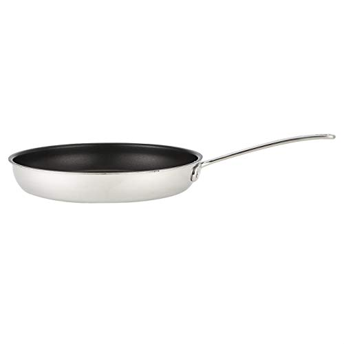 AmazonCommercial Tri-Ply Non-Stick Stainless Steel Fry 12 inch, Silver+Black