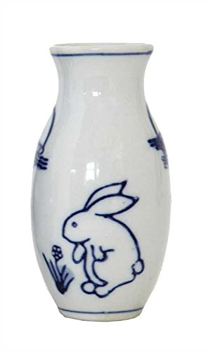 White & Blue Rabbits Stoneware Vase - Set Of 6