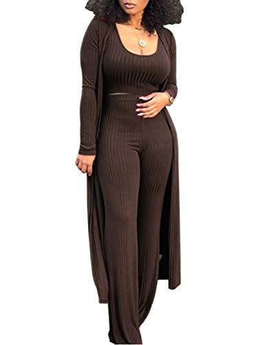 XXXITICAT Women's Sexy Lace Transparent See Through Wide Leg Pants Tube Top Long Coat Sets Suits(BR,M) ()