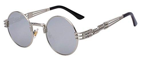 rond en soleil Mirror soleil revêtement Haoling Lens rétro lunettes Lunettes lunettes hommes Silver de de steampunk vintage métal qgtAYx