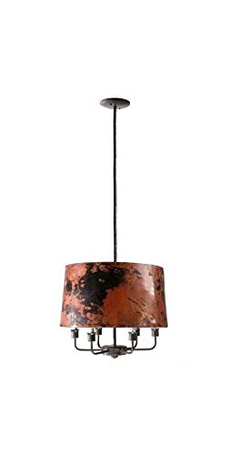 Stone County Ironworks 204973-OG-142801-O-759383 Cedarvale Bulb Hanging Lamp w Hand Fired Copper Shade w, Woodland Brown - Woodland Shade Bulb