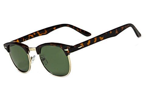 Classic 60's Horned Rimmed 55mm Wayfarers Gafas De Sol Sunglasses (Tortoise / Green - Sol Gafas Hombre De