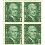 Thomas Jefferson Set of 4 x 1 Cent US Postage Stamps NEW Scot 1278