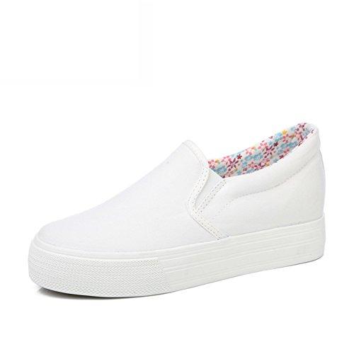 Zapatos Mocasín,Mujer Perezosa Llevaba Lona,Zapato Mujer Joker Blanco,Alumnas En La Versión Coreana De La Altura Zapatos D