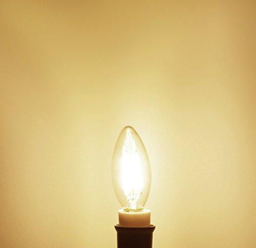 5-Pack 4W LED filament bulb E14 Base Edison Light Bulb C35 Vintage Edison Bulb Candle Light Soft Warm White 3000K 450LM (45 Watt Equivalent) AC 110V