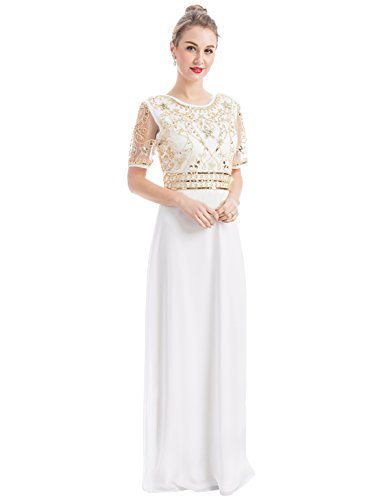 MANER Women Chiffon Beaded Embroidered Sequin Long Gowns Prom Evening Bridesmaid Dress (XL, White)