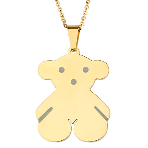 URs 18K Gold Plated Stainless Steel Wemen's Teddy Bear Necklace Pendant and Stud Earrings (Gold Plated Teddy Bear Necklace)