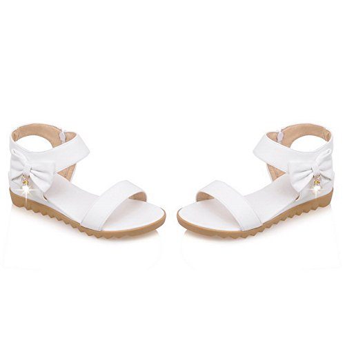 Toe Women's Sandals White Open heels Solid Wedges PU Chains Low AllhqFashion ATYqH