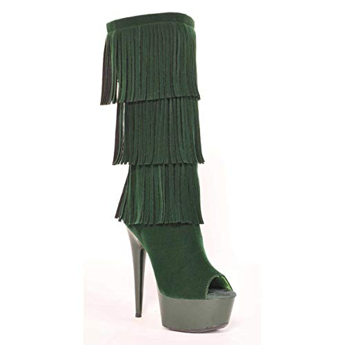 Micro Suede Fringe 7 Toe Western green Open Style gnsd Boot Suede rf6wrq