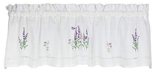 Embroidered Curtain Valance - Moments Lavender Embroidered Valance Curtain
