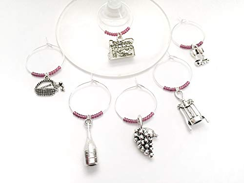 Oregon Wine Charms, Gift for Oregon Wine Country Lover, wine themed, Set of 6. PURPLE BEADS.