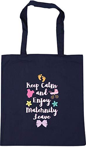 HippoWarehouse Keep Calm and Enjoy Maternity LeavepinkTote Shopping Gym Beach Bag 42cm x38cm, 10 litres French Navy