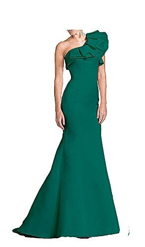 JINGDRESS One Shoulder Floral Satin Long Mermaid Prom Evening Gowns Green 20W by JINGDRESS