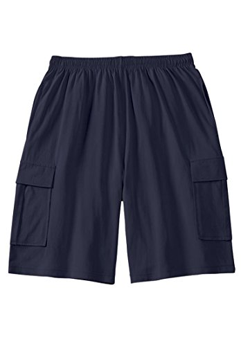 Mens Cotton Jersey Short (Jersey Cargo Shorts, Navy Big-2Xl)