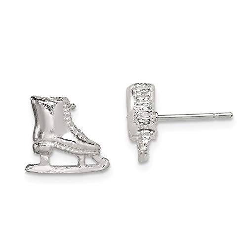 925 Sterling Silver Ice Skate Mini Post Stud Earrings Sport Fine Jewelry Gifts For Women For Her