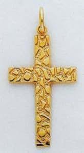 14k Nugget Style Cross Pendant