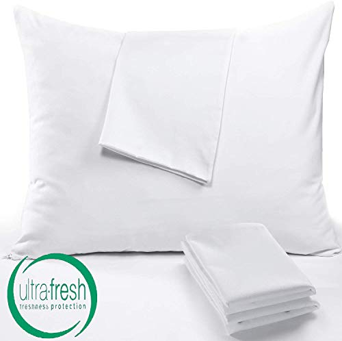 Niagara Sleep Solution 4 Pack Pillow Protectors King 20x36 Inches Lab Certified Anti Allergy Ultra Fresh Treated 100% Cotton Non Crinkle Quiet Breathable Zipper Covers Cases White