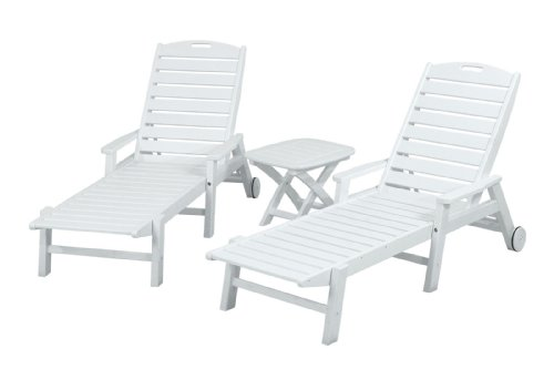 picture of POLYWOOD PWS145-1-WH Nautical 3-Piece Chaise Set, White
