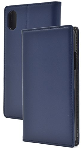 Lamb Navy (PLATA for iPhone X Case Sheepskin Leather Lamb Leather Case Notebook type [ navy ])