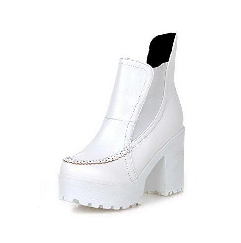 AgooLar Mujer Sólido Sin Cordones Puntera Redonda Mini Tacón Botas, Blanco, 40