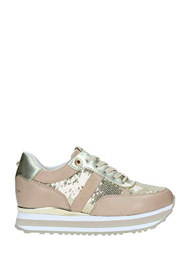 (Apepazza Shoes Woman Low Sneakers with Internal Wedge RSD29 / Paillettes RICA Size 39 Gold )